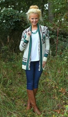 Go West Cardigan-Emerald - $44.00