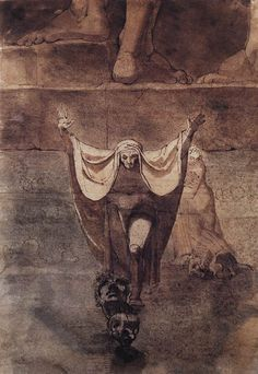 FUSELI, John Henry Swiss painter (1741 -1825).  Dante and Virgil on the Ice of Kocythos 1774 Pen and sepia, watercolour, 390 x 274 mm Kunsthaus, Zurich