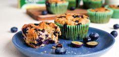 Sunne og saftige blåbærmuffins | Oppskrift | Soft Flora Good Healthy Recipes, Healthy Sweets, Tapas, Muffins, Flora, Food And Drink, Dessert, Baking, Breakfast