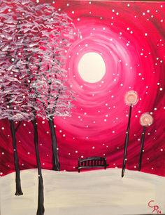 Snow Globe Night Painting, Colorful Art, Canvas And Cocktails, Painting Inspiration, Painting, Wine And Canvas, Canvas Art, Winter Art, Canvas Painting Diy