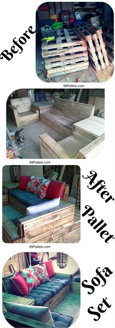 Pallet Sofa Set DIY Pallet Sofa Set - Homemade for your living room or patio furniture just get all from recycled pallets!DIY Pallet Sofa Set - Homemade for your living room or patio furniture just get all from recycled pallets! Diy Outdoor Furniture, Diy Pallet Furniture, Diy Pallet Projects, Pallet Ideas, Reclaimed Wood Furniture, Rustic Furniture, Furniture Decor, Furniture Layout, Wood Sofa