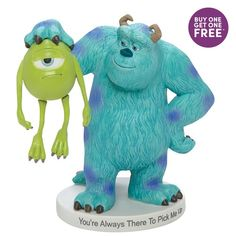Disney Precious Moments, Precious Moments Figurines, Mike And Sully, Classic Disney Characters, Hugs And Cuddles, Disney Figurines, Disney Pixar Cars, Monsters Inc, Friendship Gifts