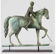 RARE ~ Polo Player on Fancy Horse Weathervane, circa 1880  19th Century Folk Art  Copper full-bodied horse and rider with castings   Original verdigris surface.  18 x 18 x 3 inches  Price upon request