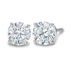 Carat Diamond Prong Set Stud Earrings 14K Gold ❤ liked on Polyvore