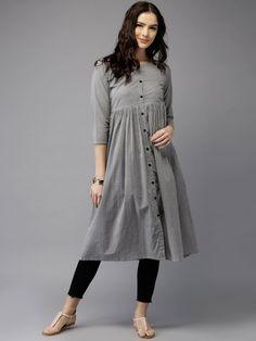 Buy Moda Rapido Women Grey & White Printed A Line Kurta - - Apparel for Women from Moda Rapido at Rs. 859