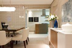 Sala de jantar integrada coma cozinha, apartamento decorado, casa decorada, mesa de jantar sala de jantar.