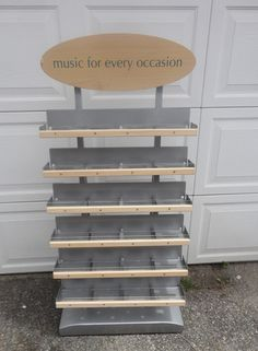 """Large Metal w/ wood CD Display Rack for retail business 77"""" tall interchangeable find me at www.dandeepop.com"""