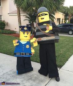 Lego Police Man and Lego Criminal Mini Figure - Halloween Costume Contest via @costume_works