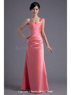 Satin One-Shoulder Sheath Floor Length Prom Dress