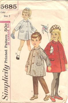 1960s Childs Coat  Simplicity 5685 Vintage Pattern  by ErikawithaK