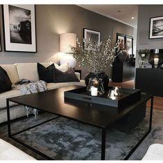 go=decoration salon appartement - PDF documents Home Living Room, Apartment Living, Living Room Designs, Black Living Room Furniture, Black Living Rooms, Apartment Ideas, Decorate Apartment, Modern Apartment Decor, Living Room Paint
