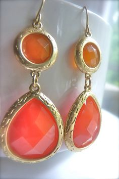 CLEARANCE SALE Citrus Opaque Faceted Gold by JeweltoneJewelry, $20.00