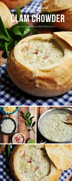 This authentic New England Clam Chowder recipe was recreated after a trip to Boston Serve it in a bread bowl to make it extra comforting and hearty! The post New England Clam Chowder appeared first on Woman Casual - Food and drink Clam Chowder Recipes, Chowder Soup, Seafood Recipes, Clam Chowder Bread Bowl Recipe, Bread Bowls For Soup, Crockpot Clam Chowder, Clam Recipes, Appetizer Recipes, Chili Recipes