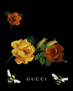 Gucci, yellow rose, red rose, bee, painting, creative, beautiful