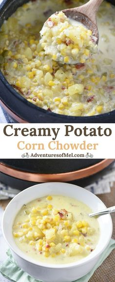Creamy Potato Corn Chowder with bacon and cheddar is so easy to make. Hearty soup that makes a cozy weeknight meal the whole family will love! Easy Corn Chowder, Potato Corn Chowder, Corn Soup, Clam Chowder, Healthy Soup Recipes, Potato Recipes, Chili Recipes, Drink Recipes, Yummy Recipes