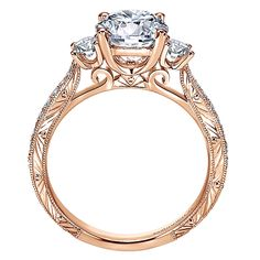 14k Pink Gold Victorian Style  3 Stones Engagement Ring