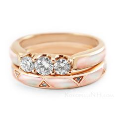 Lustrous Rose Engagement Ring and Wedding Band - Pink Mother of Pearl, Diamond, and Rose Gold - Beautifully Feminine, Wonderfully Unique!