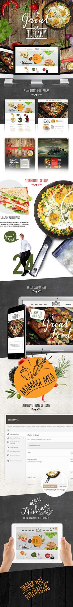 Description Tuscany – Restaurant Shop Creative WordPress Theme is a fully configurable and easy to use responsive WordPress theme with HTML5 Video Background Support and a lot of other great fea...