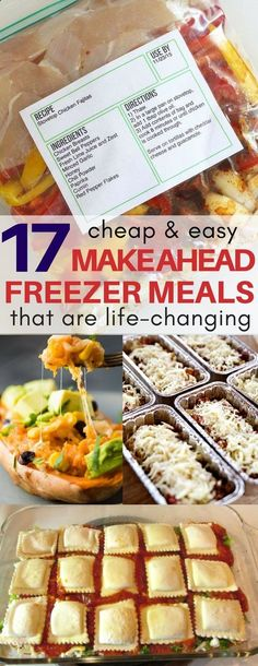I am obsessed with the frozen chicken fajitas and lasagna roll make ahead freezer recipes! Plus a FREE printable recipe template included. meal prep, crockpot recipes, quick dinner ideas, quick easy dinner recipes, quick breakfast ideas