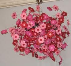 simple DIY paper flower chandelier