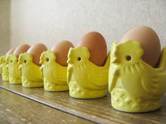 Vintage yellow chick egg holders - Hard boiled egg holders, set of six