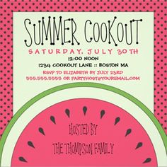 Watermelon Summer Cookout Invitation Summer's favorite fruit highlights your cookout party!  by Kat Parrella