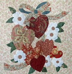 Vintage Valentine block made by Janet Beyea by Janet BA Quilt Block Patterns, Applique Patterns, Applique Designs, Quilt Blocks, Applique Ideas, Valentines Design, Vintage Valentines, Quilted Gifts, Origami