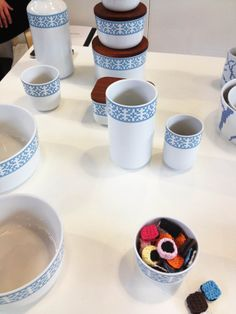 Pieces from the Snowflake Stitches China Collection, designed by Gry Fager.