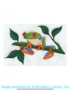 Stickmotiv Stickbild Aufnäher Stickerei Emblem Frosch  Frosch /  Stickerei Tree Frog (M1939)