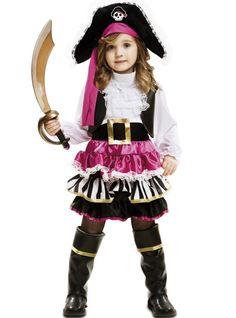Disfraz de pirata para niña rosa y negro | Comprar