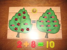 Atelier math: Ajouter le bon nombre de coccinelles afin d'en obtenir autant que sur la feuille de droite. On peut aussi demander aux enfants d'écrire la phrase mathématique. Vu sur facebook - les enseignantes échangent leurs conseils et idées - de Karine Ponton