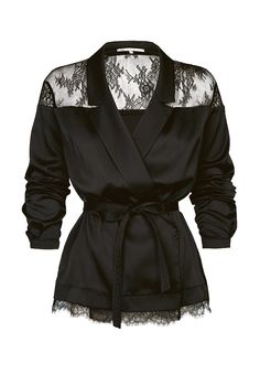 """Атласная блуза-кимоно LO с кружевной вставкой и отделкой из коллекции """"Party"""". В комплекте идет узкий пояс. Блуза с двубортной застежкой на пришивные «липучки»."""