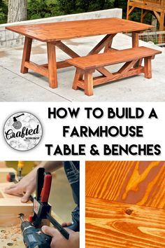 In this video, I'll show you how to build a farmhouse dining table and matching benches using construction lumber. The total cost of materials is less than $250 for the table and two benches! Let's get started.