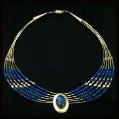 Navajo Necklace | Sterling Silver Azurite Malachite | Vintage USA #VIntageJewelry #VIntageTreasures #NativeAmericanJewelry $379 http://www.rubylane.com/item/918511-GN364/Navajo-Necklace-x7c-Sterling-Silver