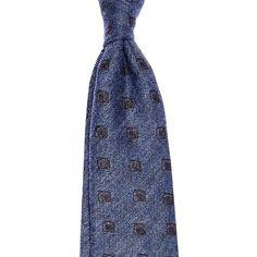 Battisti Tie Medium blue with white polkadots wool//silk