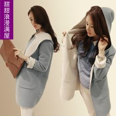 2013 autumn and winter women fashion all-match c7505 Sky Blue medium-long thickening wool coat outerwear $32.99