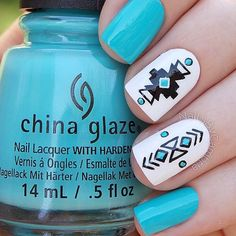 With red instead - Image via We Heart It #art #aztec #black #blue #cute #facebook #fashion #heart #love #nail #nailart #nailpolish #nails #polish #summer #tumblr #white #chinaglaze #instagram