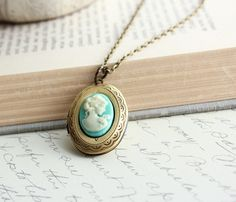 Oval Locket Necklace Aqua Blue Cameo Pendant by apocketofposies