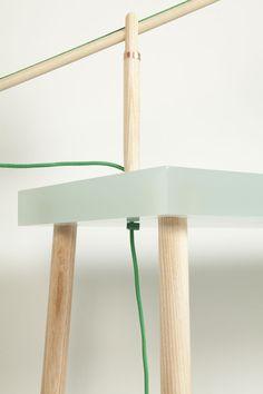 Polyester Resin Desk w/ Ash wood work lamp + glass vase - Roel Huisman