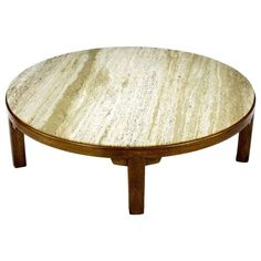"Edward Wormley 48"" Diameter Five-Leg Mahogany & Travertine Coffee Table 