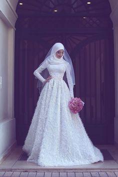 New Wedding Dresses Hijab Bride Islamic 34 Ideas Muslim Wedding Gown, Muslimah Wedding Dress, Muslim Wedding Dresses, Hijab Bride, Muslim Brides, Wedding Dresses 2018, Bride Gowns, Bridal Dresses, Bridesmaid Dresses