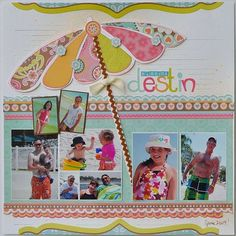 """Destin, Florida"" Beach Layout...with patterned beach umbrella & rick rack trim. By Gumpgirl - Scrapbook.com."
