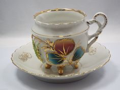 RP: Tea Cup & Saucer, Multi-color and Gold 3D Leaf pattern | eBay.com