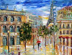 Original painting PARIS EIFFEL TOWER landscape by Karensfineart