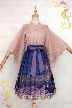 IchigoMiko -Fantastic Night By The River of Sakura- Wa Lolita Skirt (Long Version),Lolita Dresses, Kawaii Fashion, Lolita Fashion, Pretty Dresses, Beautiful Dresses, Skirt Fashion, Fashion Outfits, Fashion Art, Fashion Clothes, Trendy Fashion
