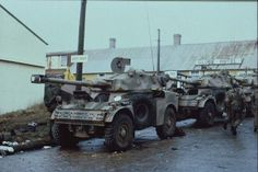 Panhard armoured cars abandoned by Argentine forces in Port Stanley, Falkland Islands, Military Army, Military History, Falklands War, Armed Conflict, Armored Fighting Vehicle, Royal Marines, Military Equipment, Korean War, Armored Vehicles