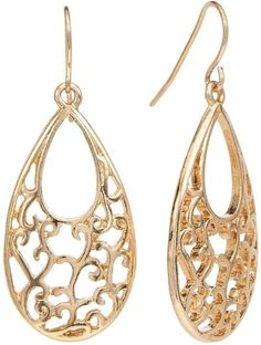 Croft & Barrow Gold Tone Filigree Teardrop Earrings