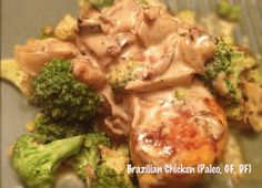 Gluten, dairy and grain-free Brazilian Chicken dish uses Coconut Milk to create a sinfully rich cream sauce! This dish tastes more complicated and rich than it is and is great for a causal family dinner or for those nights when you're entertaining guests. Enjoy!