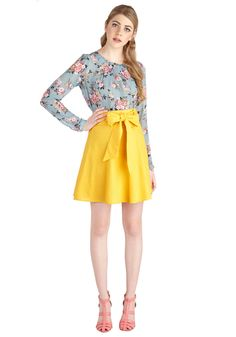 Musee Matisse Skirt in Yellow. On your trip, you want to leave an impression! #yellow #modcloth