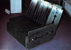 """rifles:  Siège poème, à Créteil (Maison de la culture), Feb 1975 """"Gillette chair"""" Luc Dailledouze"""